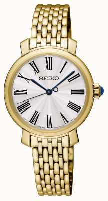 Seiko Bracciale da donna placcato in oro orologio quadrante bianco SRZ498P1