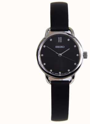 Seiko Cassa classica da donna in acciaio inossidabile con cinturino in pelle nera SUR699P1