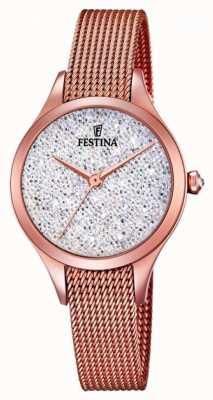 Festina Womens mademoiselle rosa oro pvd maglia quadrante swarovski F20338/1