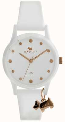 Radley Cassa bianca da 33 mm con cinturino in silicone bianco RY2638