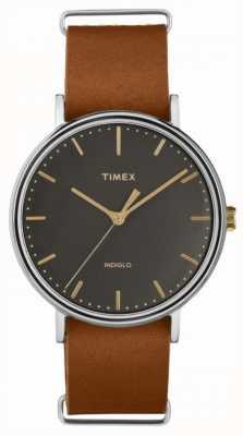 Timex Cassa cromata con cinturino in pelle marrone fairfield 41mm TW2P97900