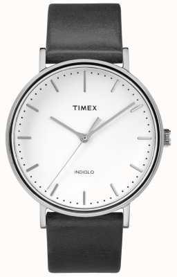 Timex Cinturino in pelle nera Fairfield 41mm / quadrante bianco TW2R26300