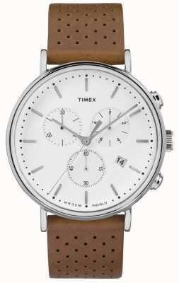 Timex Cinturino in pelle marrone fairfield chrono / quadrante bianco TW2R26700