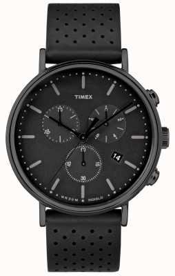 Timex Cinturino in pelle nera fairfield chrono / quadrante nero TW2R26800