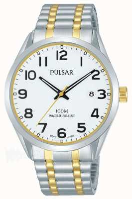 Pulsar Mens | bracciale in acciaio bicolore | quadrante bianco | PS9565X1
