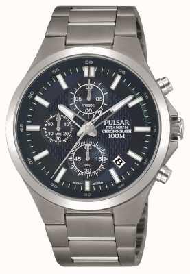 Pulsar Quadrante cronografo da uomo con cinturino in titanio blu PM3109X1