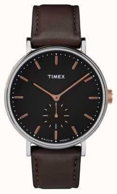 Timex Quadrante nero cassa Fairfield e cinturino marrone TW2R38100
