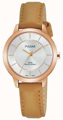 Pulsar Cinturino in pelle marrone chiaro con cassa placcata oro rosa PH8374X1