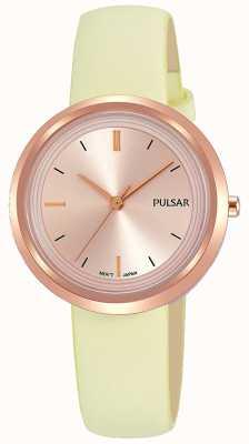 Pulsar Cassa in oro rosa e cinturino in pelle quadrante PH8394X1