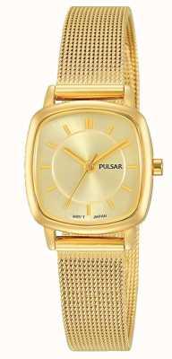 Pulsar Donne | bracciale a maglie in acciaio inossidabile dorato | quadrante oro | PH8380X1