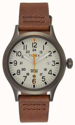Timex Cinturino in pelle marrone Allied 40 / quadrante naturale TW2R46400