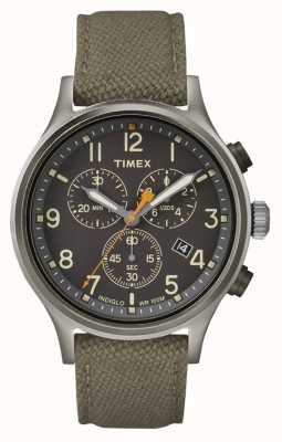 Timex Cinturino in nylon verde alleato chrono / quadrante nero TW2R47200