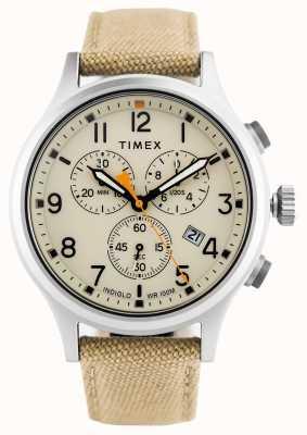 Timex Cinturino in alligatore crono kaki in nylon / quadrante naturale TW2R47300