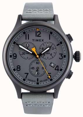 Timex Cinturino in pelle di alligatore crono grigio / quadrante grigio TW2R47400
