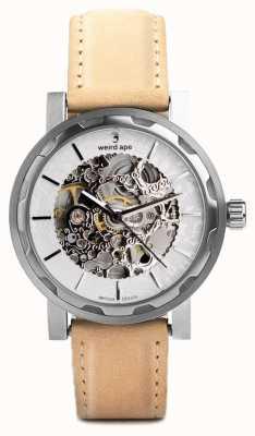 Weird Ape Cinturino in pelle scamosciata arenaria quadrante argento e argento Kolt WA02-005533