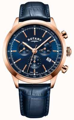 Rotary Orologio da uomo cronografo in pelle blu con cinturino GS05257/05
