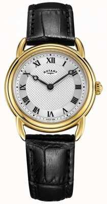 Rotary Orologio da donna in oro nero con cassa in pelle di Canterbury LS05338/21