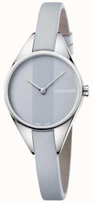 Calvin Klein Quadrante grigio cinturino in pelle grigia ribelle da donna K8P231Q4
