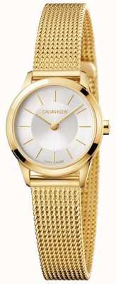 Calvin Klein Quadrante bianco da donna con cinturino in maglia d'oro minimale K3M23526