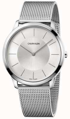 Calvin Klein Quadrante argentato da uomo in maglia grigia con minimo quadrante grigio K3M2T126