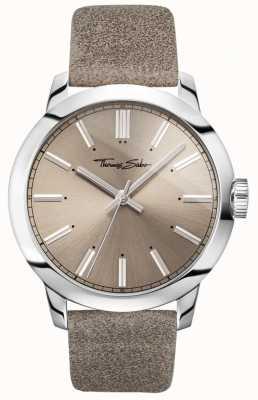 Thomas Sabo Mens ribelle a cuore orologio quadrante grigio cinturino in pelle grigia WA0313-273-214-46