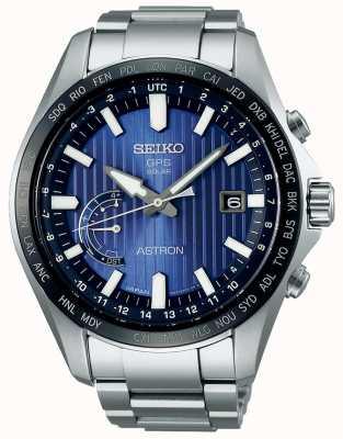 Seiko Braccialetto in acciaio inossidabile con quadrante blu con quadrante solare SSE159J1