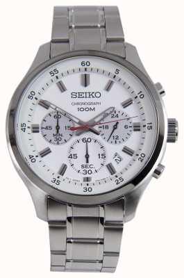Orologio sportivo da uomo con cronografo sportivo Seiko, quadrante bianco SKS583P1