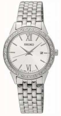 Seiko Bracciale in argento seiko con quadrante bianco SUR695P1