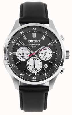 Seiko Orologio sportivo cronografo da uomo con cinturino in pelle nera quadrante nero SKS595P1