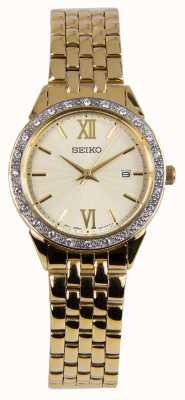 Seiko Orologio da donna con cinturino in oro con quadrante dorato SUR688P1