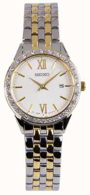 Seiko Orologio da donna due tonalità argento e oro SUR690P1
