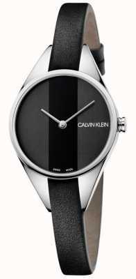 Calvin Klein Orologio da donna con cinturino sottile in pelle nera ribelle K8P231C1