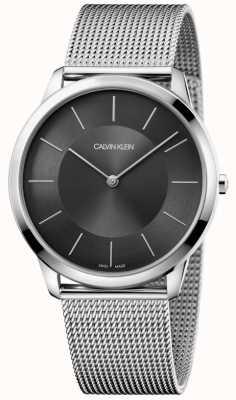 Calvin Klein Orologio da uomo con quadrante nero in argento con cinturino in maglia d'argento K3M2T124