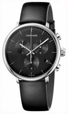Calvin Klein Orologio cronografo da uomo con cinturino in pelle nera a mezzogiorno K8M271C1
