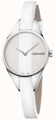 Calvin Klein Orologio da donna con cinturino sottile in pelle bianca ribelle K8P231L6