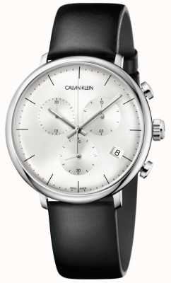 Calvin Klein Orologio cronografo da uomo con cinturino in pelle nera a mezzogiorno K8M271C6