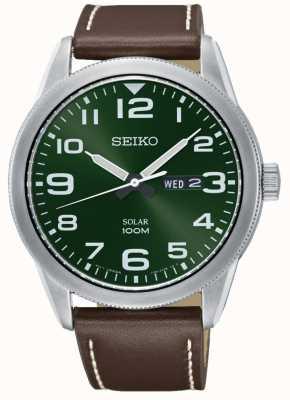 Seiko Orologio da uomo con cinturino in pelle marrone quadrante verde SNE473P1