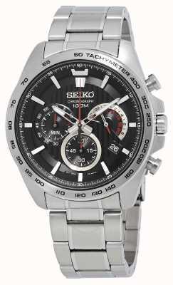 Seiko Orologio da uomo cronografo cinturino in argento quadrante nero SSB299P1