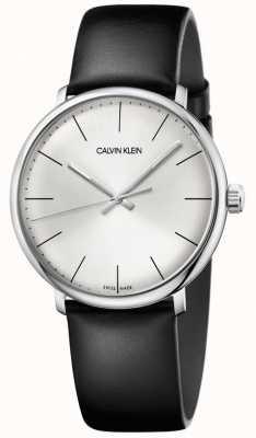 Calvin Klein Cinturino in pelle nera quadrante argentone alto uomo K8M211C6