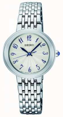 Seiko Bracciale in quarzo argento da donna con quadrante bianco SRZ505P1