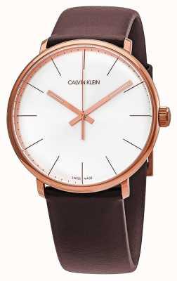 Calvin Klein Cinturino in pelle marrone da uomo con cassa in oro rosa a mezzogiorno K8M216G6