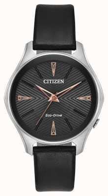 Citizen Orologio da donna modena in eco-pelle nera EM0591-01E