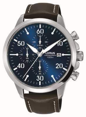 Lorus Orologio cronografo da uomo cinturino in pelle marrone con quadrante blu RM353EX9