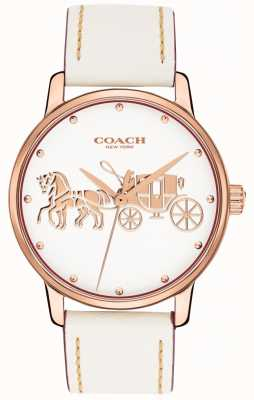Coach Quadrante bianco cassa in oro rosa con cinturino in pelle bianca 14502973