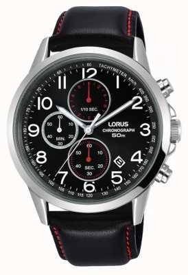Lorus Orologio cronografo da uomo cinturino in pelle nera quadrante nero RM369EX8