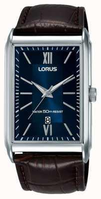 Lorus Quadrante quadrante blu con cinturino in pelle marrone con quadrante bianco RH911JX9
