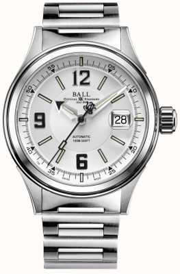 Ball Watch Company Quadrante bianco con cinturino automatico in acciaio inossidabile da corsa NM2088C-S2J-WHBK
