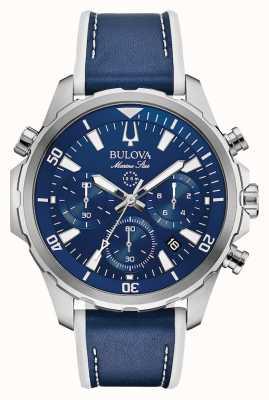 Bulova Cronografo cinturino in pelle marina 96B287
