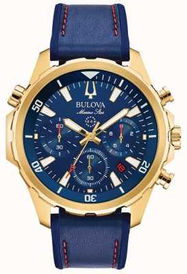 Bulova Cronografo da uomo in pelle con cinturino a stelle marine 97B168