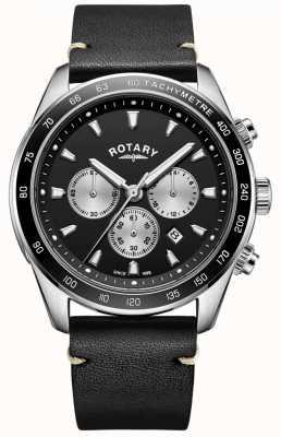 Rotary Orologio da uomo henley cinturino in pelle nera con quadrante nero crono GS05115/04